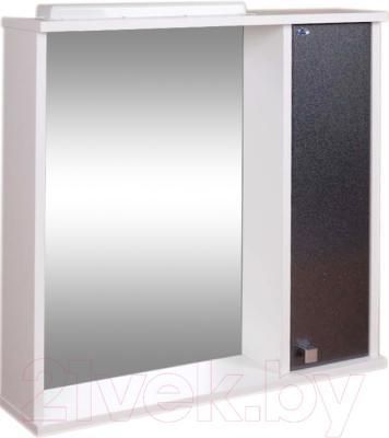 Шкаф с зеркалом для ванной Гамма 08т (черный металлик, правый)