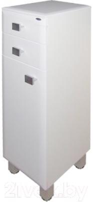 Шкаф-полупенал для ванной Гамма 31.25 оФ2 (белый, с ящиком, левый)
