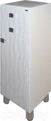 Шкаф-полупенал для ванной Гамма 31 оФ2 (волна, левый)