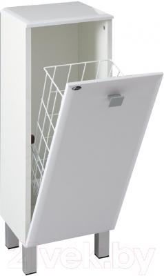 Шкаф-полупенал для ванной Гамма 30.30 о/к Ф2 (белый) - корзина для белья