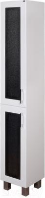 Шкаф-пенал для ванной Гамма 50.03 оФ2 (черные вставки, левый)