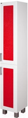 Шкаф-пенал для ванной Гамма 50.03 оФ2 (красные вставки, левый)