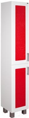 Шкаф-пенал для ванной Гамма 50.03 ОФ2 (красные вставки, правый)