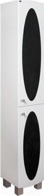 Шкаф-пенал для ванной Гамма 50.03 ОФ4в (черные вставки, правый)