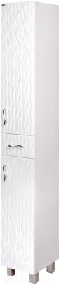 Шкаф-пенал для ванной Гамма Люкс 51.20 ОФ2 (волна, с ящиком, левый)