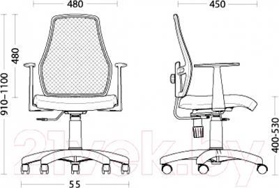 Кресло офисное Nowy Styl FOX 12+ GTP (OH/6, LS-76) - размеры