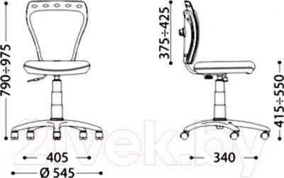 Кресло офисное Nowy Styl Ministyle GTS Q (Dino) - размеры