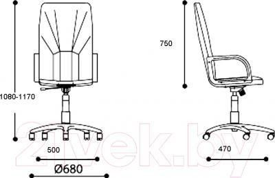 Кресло офисное Nowy Styl Manager Steel Chrome (ECO-30) - размеры
