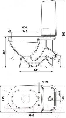 Унитаз напольный Керамин Турин Алкапласт Premium (с полипропиленовым сиденьем ) - схема