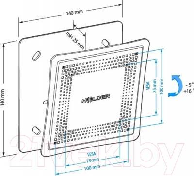 Кронштейн для телевизора Holder LCD-T1802М-B - схема, габариты