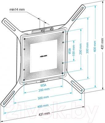 Кронштейн для телевизора Holder LCD-F4801М-B - схема, габариты