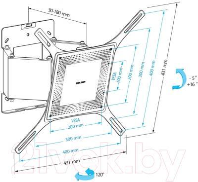 Кронштейн для телевизора Holder LCD-SU4806М-B - схема, габариты