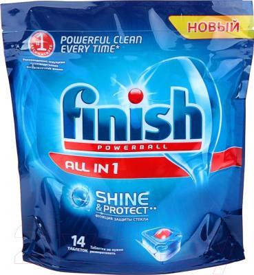 Таблетки для посудомоечных машин Finish Shine&Protect All in One (14шт)
