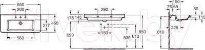 Умывальник Roca Dama-N 65х46 (A327783000) - схема