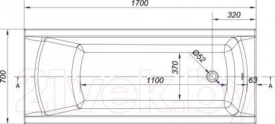 Ванна акриловая Cersanit Korat 170x70 / S301-122 - схема