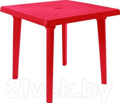 Стол пластиковый Алеана Квадратный 80x80 (вишневый)