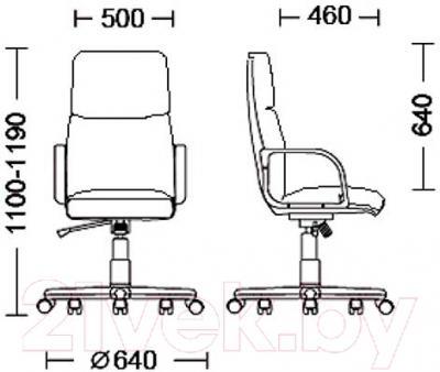 Кресло офисное Nowy Styl Nadir Steel Chrome/Comfort (LE-A) - размеры