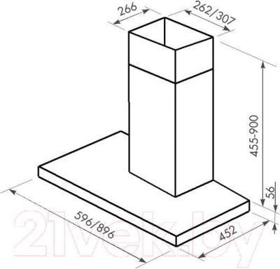 Вытяжка Т-образная Zorg Technology Стелс E (Stels) 1000 (90, Matt Stainless Steel-Beige) - габаритные размеры