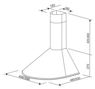 Вытяжка купольная Zorg Technology RM (Eco) 650 (50, Matt Stainless Steel) - схема