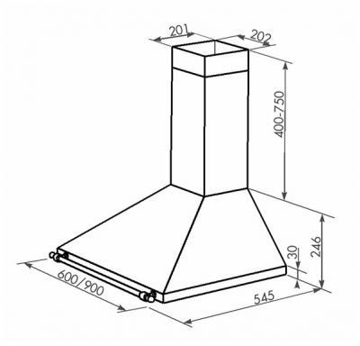 Вытяжка купольная Zorg Technology Alegro A 750 (60, Beige) - схема