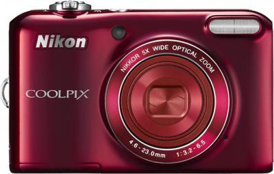 Компактный фотоаппарат Nikon Coolpix L28 Red - вид спереди
