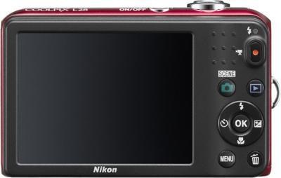 Компактный фотоаппарат Nikon Coolpix L28 Red - вид сзади