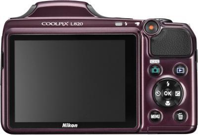 Компактный фотоаппарат Nikon Coolpix L820 Plum - вид сзади