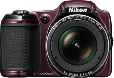 Компактный фотоаппарат Nikon Coolpix L820 Plum - вид спереди