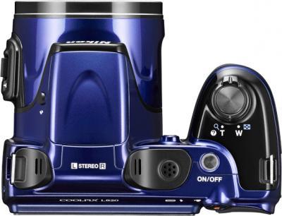 Компактный фотоаппарат Nikon Coolpix L820 Blue - вид сверху