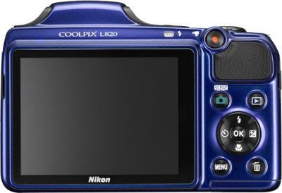 Компактный фотоаппарат Nikon Coolpix L820 Blue - вид сзади