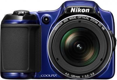 Компактный фотоаппарат Nikon Coolpix L820 Blue - вид спереди