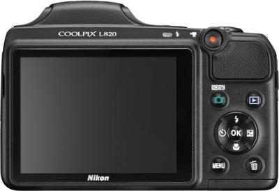 Компактный фотоаппарат Nikon Coolpix L820 Black - вид сзади