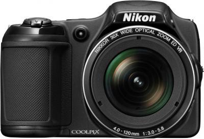 Компактный фотоаппарат Nikon Coolpix L820 Black - вид спереди