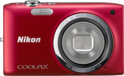 Компактный фотоаппарат Nikon Coolpix S2700 Red - вид спереди