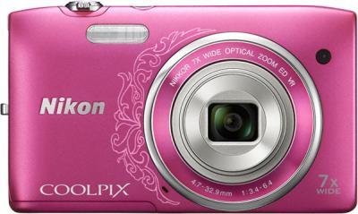 Компактный фотоаппарат Nikon Coolpix S3500 Pink Patterned - вид спереди