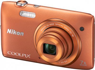 Компактный фотоаппарат Nikon Coolpix S3500 Orange - общий вид