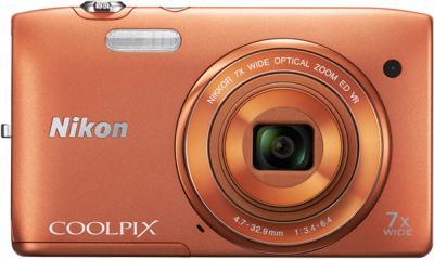 Компактный фотоаппарат Nikon Coolpix S3500 Orange - вид спереди