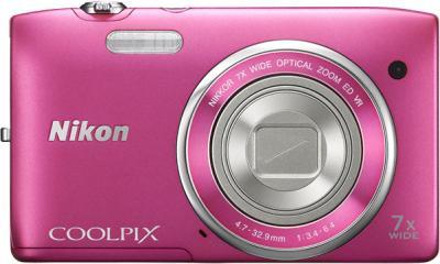 Компактный фотоаппарат Nikon Coolpix S3500 Pink - вид спереди