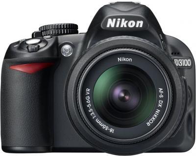 Зеркальный фотоаппарат Nikon D3100 Kit 18-55mm VR + 55-300mm VR - вид спереди