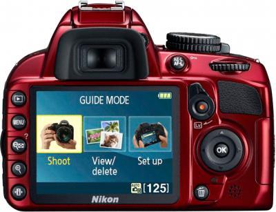 Зеркальный фотоаппарат Nikon D3100 Kit 18-55mm VR Red - вид сзади