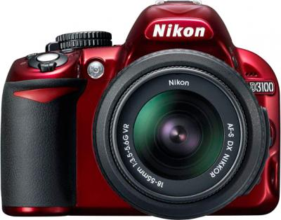 Зеркальный фотоаппарат Nikon D3100 Kit 18-55mm VR Red - вид спереди