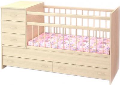 Детская кровать-трансформер Бэби Бум Маруся (Беленый Дуб) - общий вид