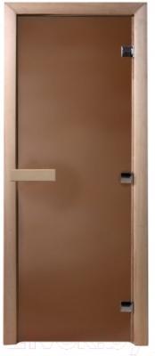 Стеклянная дверь для бани/сауны Doorwood 700x1900 (стекло бронзовое матовое, осина)