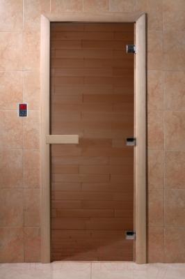 Стеклянная дверь для бани/сауны Doorwood Банька 700x1900 (стекло бронзовое, осина)