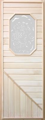 Стеклянная дверь для бани/сауны Doorwood 750x1850 (вагонка со стеклом 8-угол., липа)