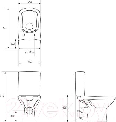Унитаз напольный Cersanit 559 Carina Clean On 011 - схема