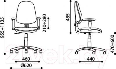 Кресло офисное Новый Стиль Galant GTP Chrome (C-38) - размеры