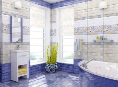 Декоративная плитка для ванной Уралкерамика Фрейя ПО9ФР303 (249x500, синий/синий)