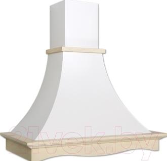 Вытяжка купольная Elikor Рококо 90П-700-П3Г (белый муар/дуб неокрашенный)