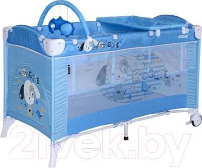 Кровать-манеж Lorelli Arena 2+ (Blue Doggie)